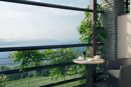 junior suite balcony with lake at Lefay Resort and Spa Italy