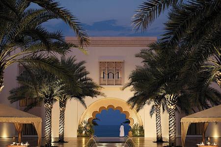 night entrance at shangri la barr al jissah resort oman
