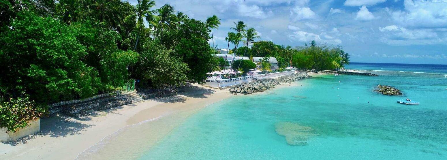 Aerial Beach View at cobblers cove hotel Caribbean