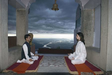 meditation at ananda himalayas hotel india