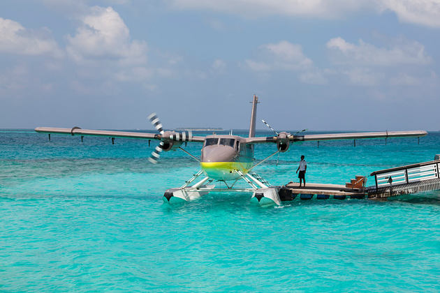 seaplane at cheval blanc randheli hotel maldives