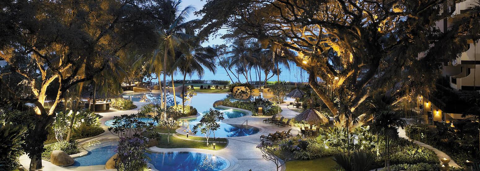 night pools at shangri la rasa sayang resort and spa malaysia