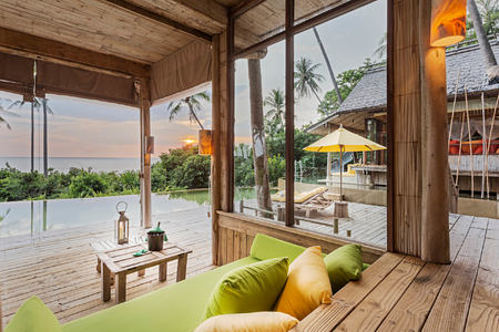 4 Bedroom Sunset Ocean View Pool Reserve Living Area at soneva kiri resort thailand