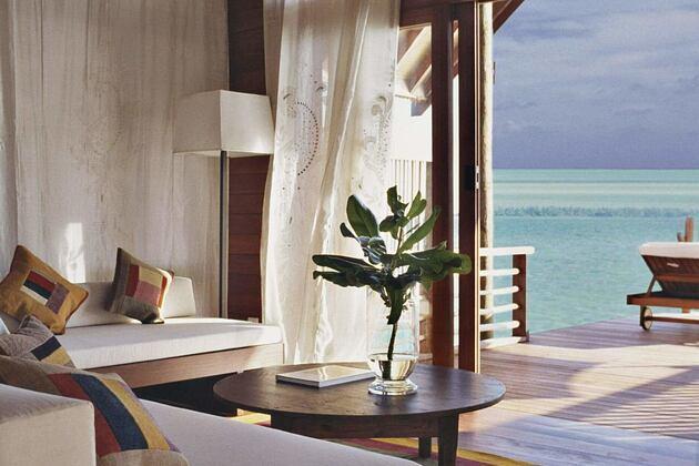 loft villa lounge at Cocoa Island by COMO Resort Maldives