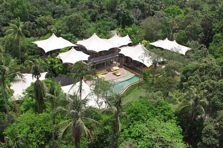 5 Bedroom Beach Pool Reserve Aerial at soneva kiri resort thailand