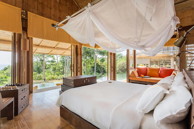 5 Bedroom Sunset Ocean View Pool Reserve Master Bedroom at soneva kiri resort thailand