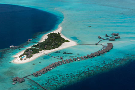 areial view at Cocoa Island by COMO Resort Maldives