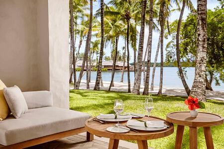 lagoon room terrace at le saint geran hotel mauritius