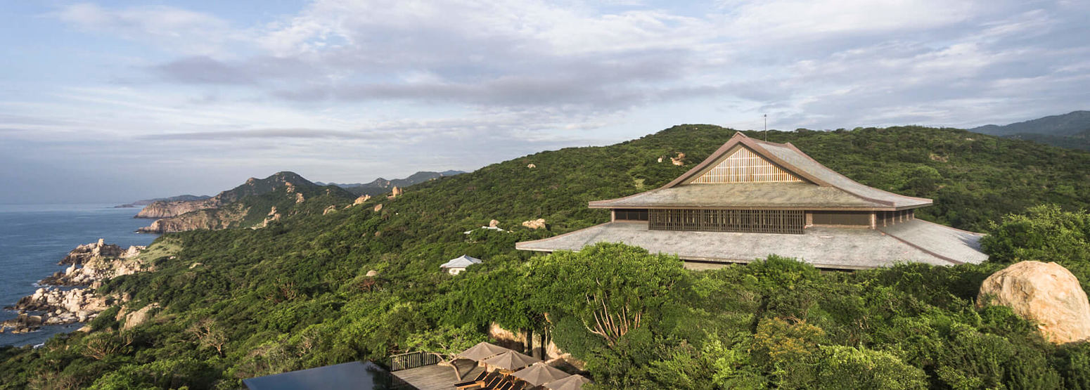 Aerial view of Central Pavilion and Cliff Pool on the hilltop at amanoi luxury resort vietnam