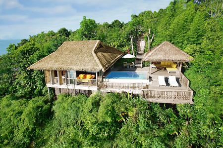 aerial view of one bedroom pool villa at six senses yao noi resort phuket thailand