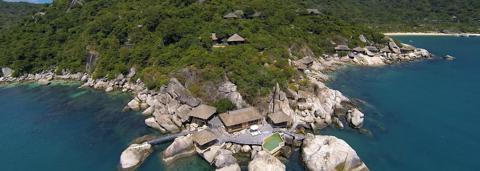 aerial view with the rock retreat at six senses ninh van bay