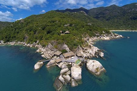 aerial view with the rock retreat at six senses ninh van bay