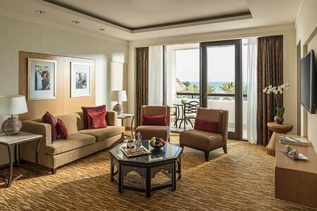 Al Bandar one bedroom suite living area at shangri la barr al jissah resort oman