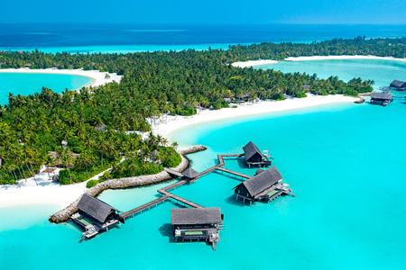 water villas with pool aerial at reethi rah resort maldives