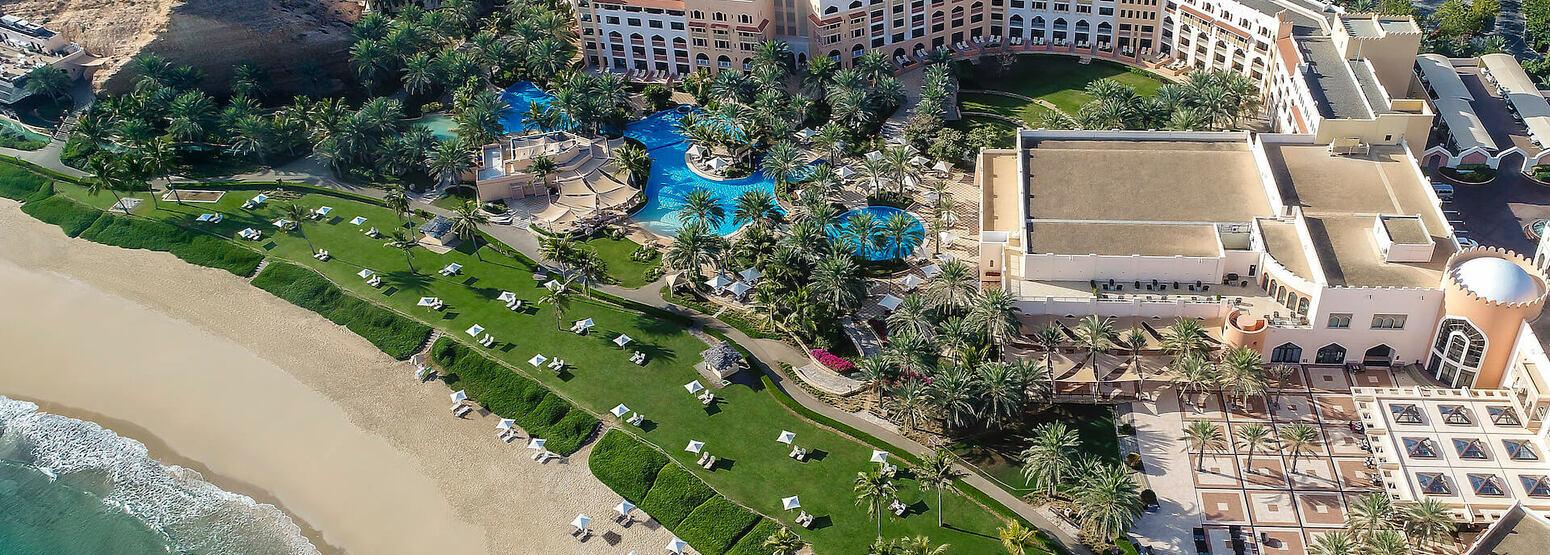 aerial view of shangri la barr al jissah resort oman
