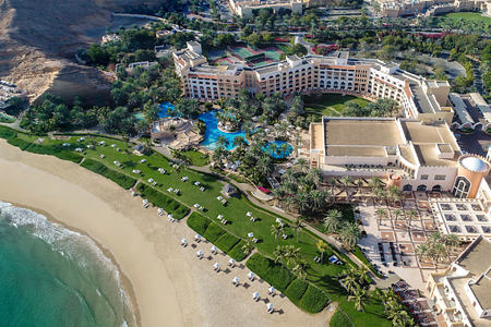 aerial view of shangri la barr al jissah resort oman