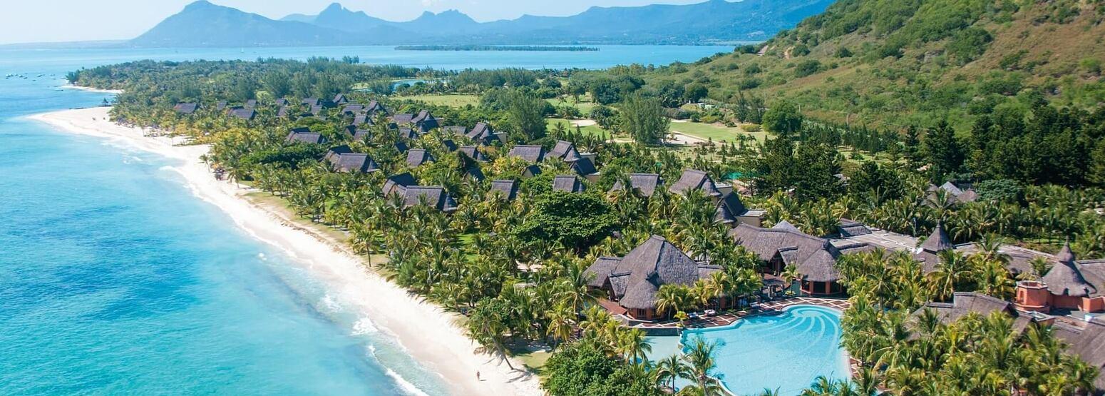 aerial view of dinarobin hotel mauritius