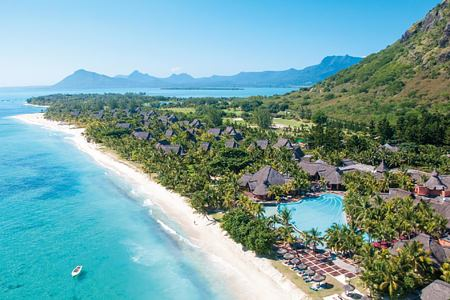 aerial view of dinarobin hotel mauritius