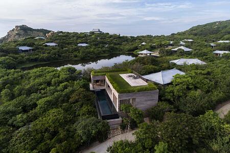 Banya Spa House aerial view at amanoi luxury resort vietnam