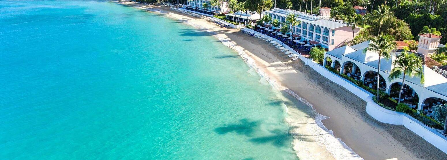 aerial beach view at fairmont royal pavilion hotel barbados