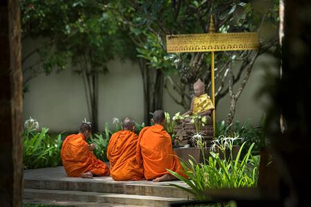 Buddhist Monks at amansara hotel cambodia