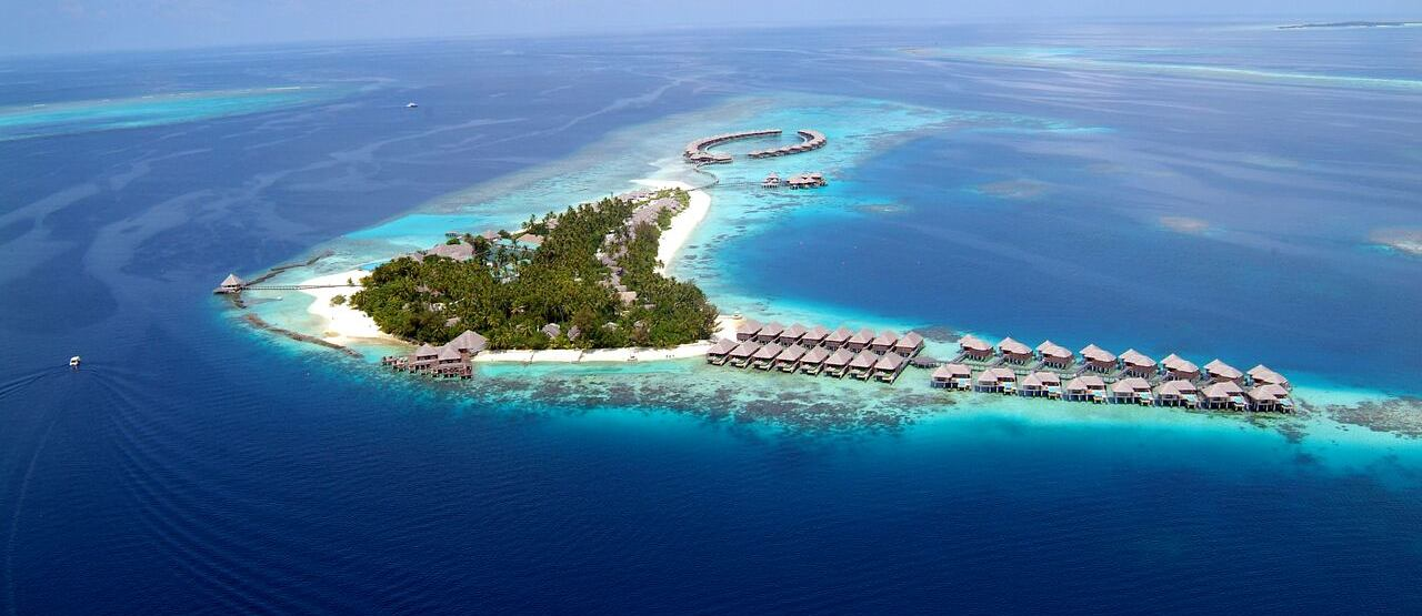 aerial view of coco palm bodu hithi resort maldives