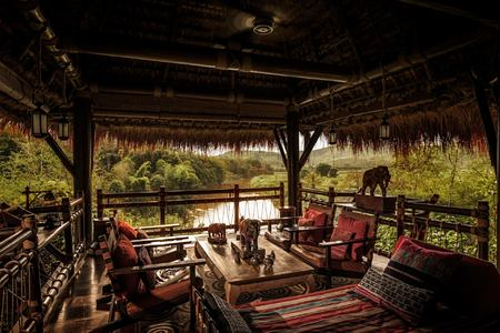 terrace dining at four seasons tented camp resort chiang rai