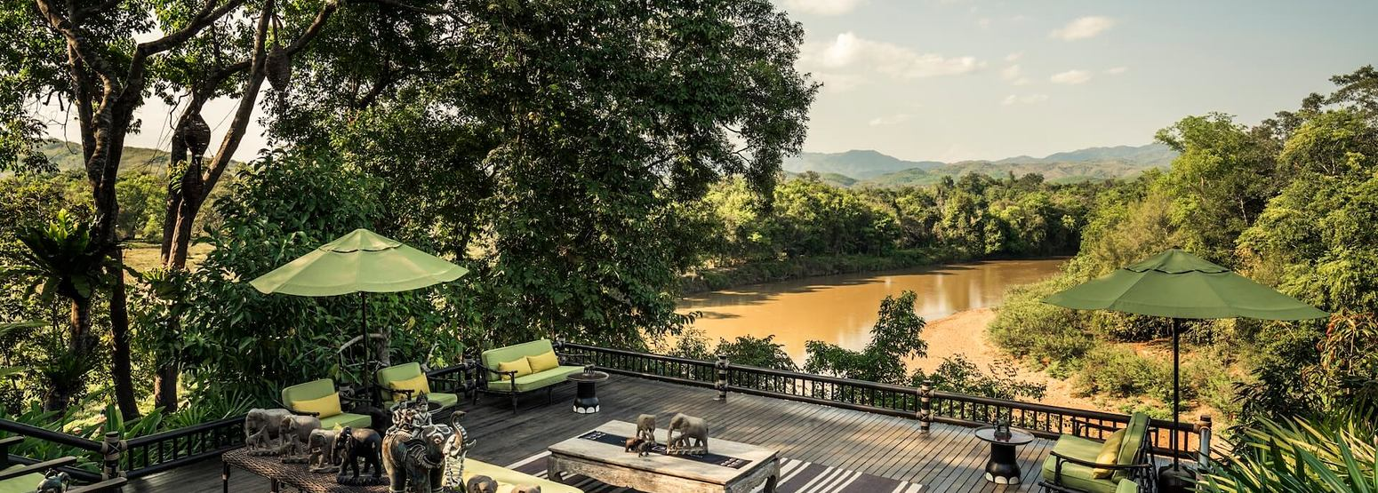 aerial view of four seasons tented camp resort chiang rai