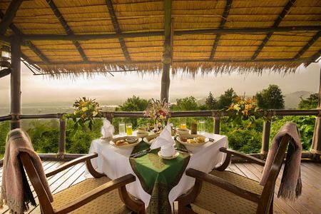 terrace view at four seasons tented camp resort chiang rai