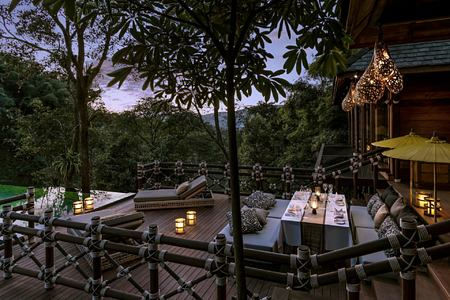 evening dining at four seasons tented camp resort chiang rai