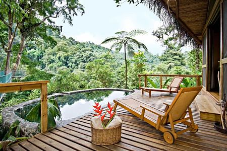 Canopy accommodation outdoor pool Pacuare lodge Costa Rica