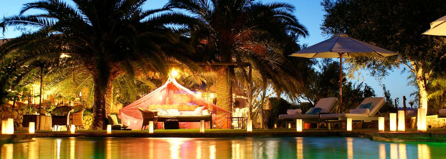 night time poolside at Es Cucons hotel