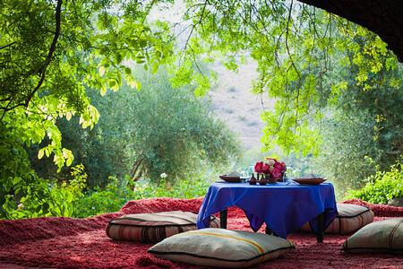 forest dining at la kasbah beldi morocco