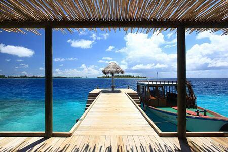 dive jetty at diving school at six senses laamu hotel maldives