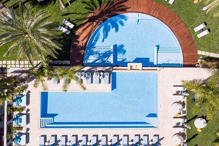 aerial view of pool at aguas de ibiza hotel