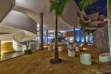 Entrance Hall Night at baobab suites tenerife