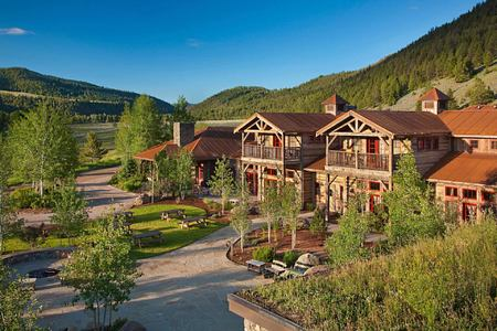 lodge exterior at rock creek rach montana usa
