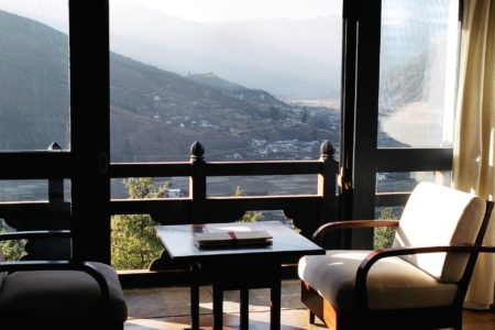 valley room view at umo paro hotel by como bhutan