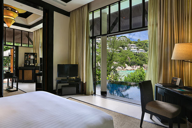 guest room partial ocean view at banyan tree samui thaialand