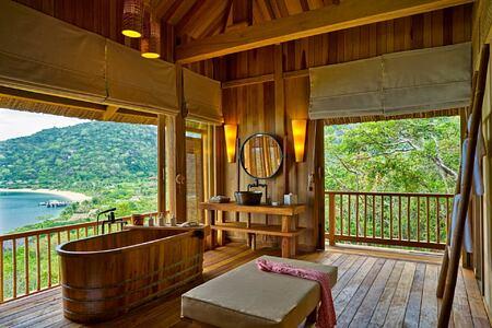 hilltop reserve bathroom at six senses ninh van bay
