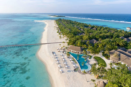 aerial view at Kanuhura hotel Maldives