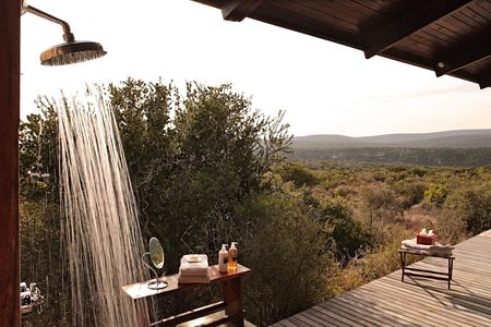 Kwandwe Ecca Lodge outdoor shower south africa