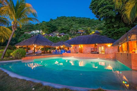 pool in the evening at laluna hotel caribbean