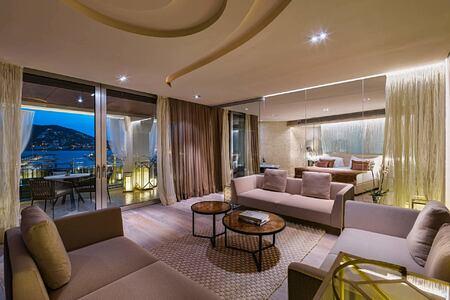 Living area Suite Presidencial sunset at aguas de ibiza hotel
