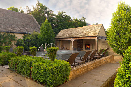 Looking across the courtyard at Calcot Spa at calcot manor england uk