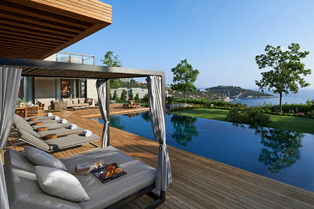 terrace pool at mandarin oriental bodrum hotel turkey