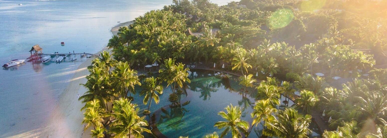 aerial view of trou aux biches hotel mauritius