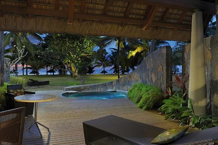 night outside at trou aux biches hotel mauritius