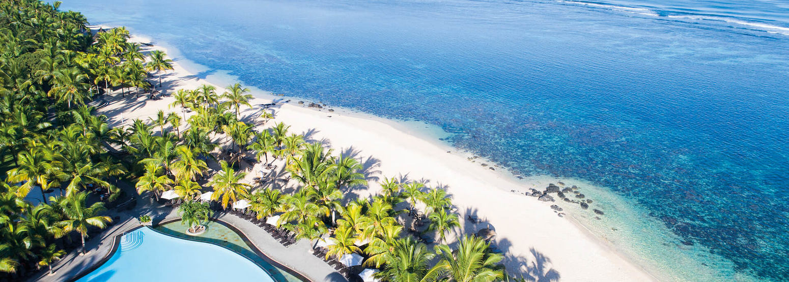 aerial view of beach at le victoria hotel mauritius