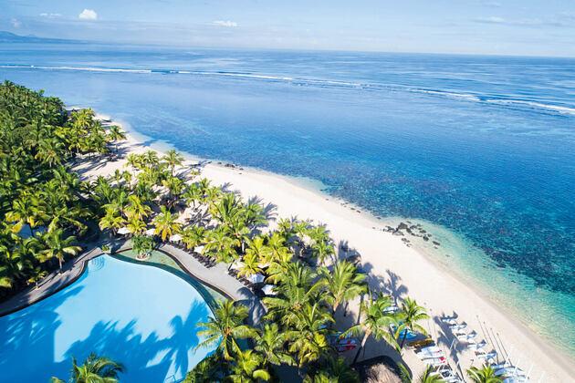 aerial view of beach at le victoria hotel mauritius